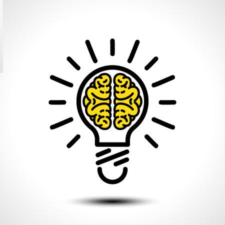 Gloeilamp idee met hersenen vector logo sjabloon. Bedrijfspictogram zoals logo. Creatieve gloeilamp idee hersenen vector