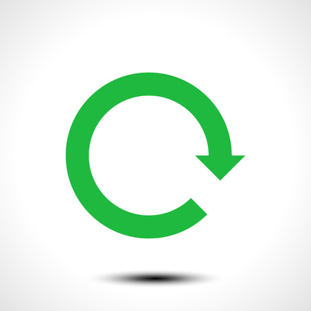 Green loop arrow icon, isolated on white background, vector illustration.
