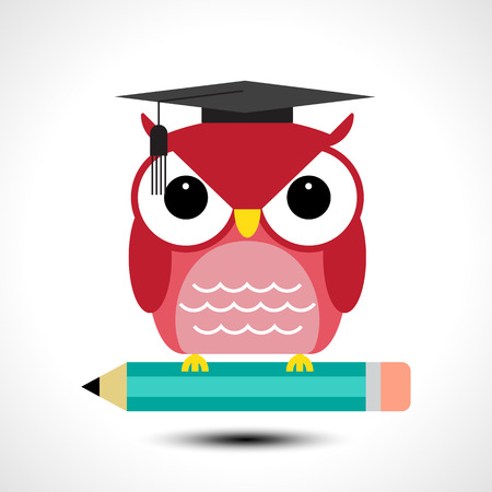 owl illustration: Wise owl with pencil isolated on white background. Vector illustration