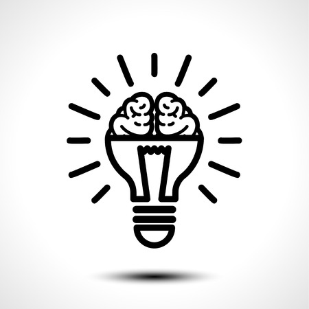 Half lit bulb and brain isolated illustration.