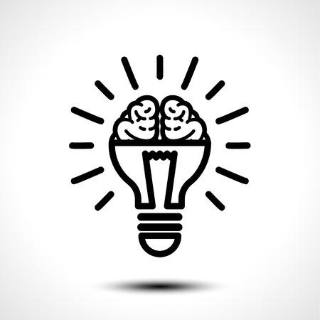 Half lit bulb and brain isolated illustration.