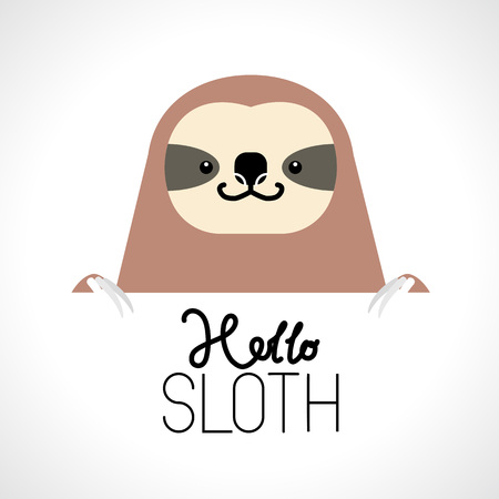 Cute sloth head design on white background. Wild Animal. Vector illustration