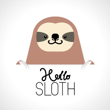 Cute sloth head design on white background. Wild Animal. Vector illustration
