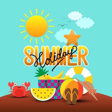 Summer holiday in a sand beach island with summer items. Vector illustration. Illustration