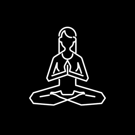 Yoga icon abstract design template linear style for yoga retreat or yoga studio. Vector illustration.