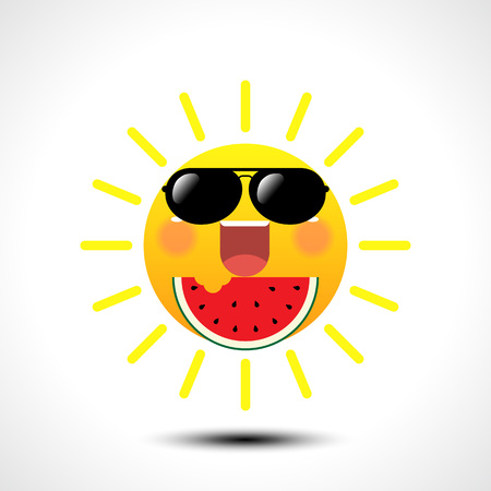 Happy smiling summer sun in sunglasses eating watermelon on white background. Vector illustration. Çizim
