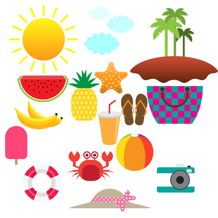 Summer concept. Flat icons isolated in black background. Vector illustration.