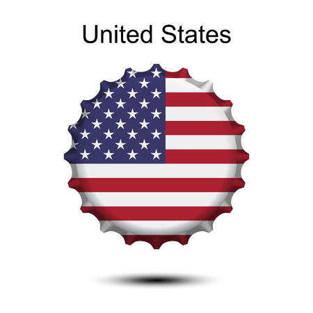 National flag of United States on a bottle cap vector illustration. 矢量图像