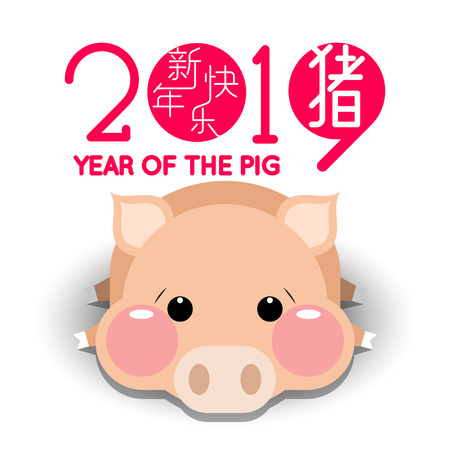 Happy Chinese new year 2019, year of the pig with cute cartoon pig.  Chinese wording translation: happy Chinese new year & pig.