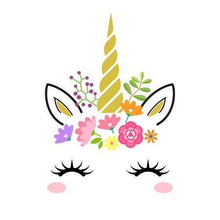 Cute unicorn face with gold horn and flowers isolated on white background. Vector cartoon character illustration. Design for child card,t-shirt.girls,kid.magic concept. Vectores