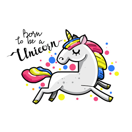 Cute magic unicorn. Romantic card with unicorn. Hand drawn vector retro style illustration.