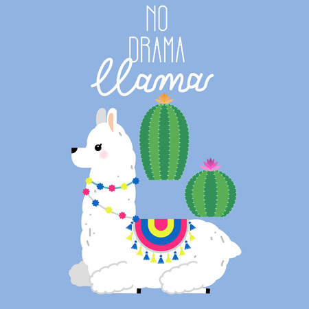 Cute llama and alpaca illustration for nursery design, poster, greeting, birthday card, baby shower design and party decor