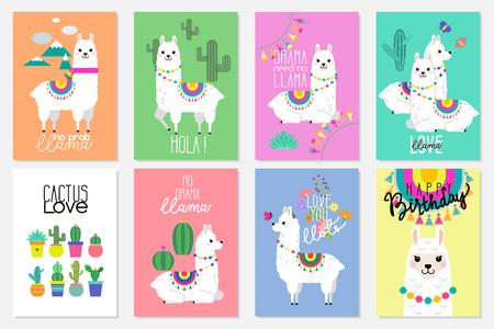 Illustrations mignonnes de lamas, d'alpagas et de cactus pour la conception de crèche, l'affiche, la salutation, la carte d'anniversaire, la conception de douche de bébé et la décoration de fête