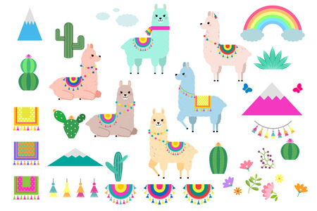 Vector set of cute llamas, alpacas and cactus collection elements for nursery design, poster, greeting, birthday card, baby shower design and party decor Vettoriali
