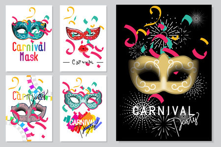 Happy carnival festive concept set. Collection of color mask, lips,ribbons,eyelash and confetti. For poster,placard,wallpaper,backdrop and web site. Vector illustration.
