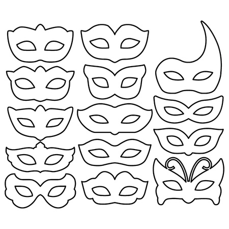 Set of carnival mask outlines isolated on white. Collection festive mask icons symbols. Decorations for masquerade, parties and various celebrations. Vector illustration.
