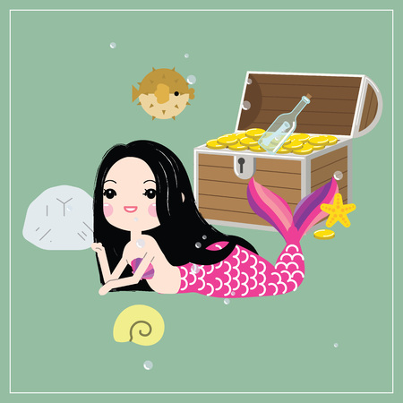 Cute little mermaid with sea animals. Under the sea in cartoon style, Vector illustration.