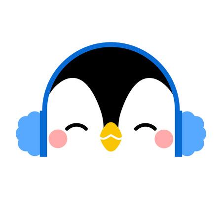 Cute Penguin face. Vector illustration  イラスト・ベクター素材