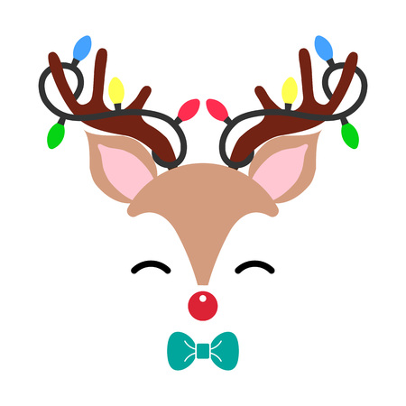 Cute Christmas red nose reindeer face vector. Funny cartoon deer with decorative lights. Vector illustration