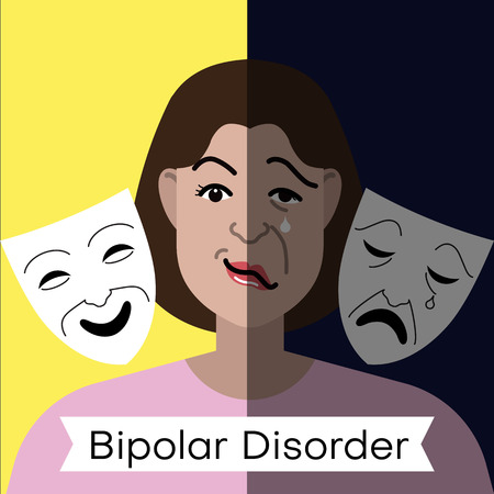 Bipolar disorder concept. Young woman with double face expression and theater masks. Vector illustration. Ilustração