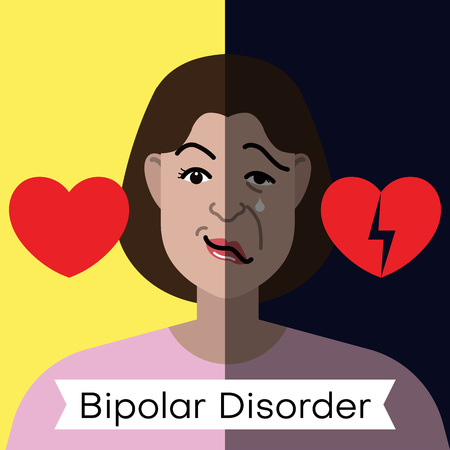 Bipolar disorder concept. Young woman with double face expression and red heart. Vector illustration.
