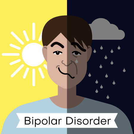 Bipolar disorder concept. Young man with double face expression and mental health weather concept. Vector illustration Vector Illustration