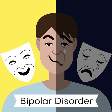 Bipolar disorder concept. Young man with double face expression and theater masks. Vector illustration  イラスト・ベクター素材