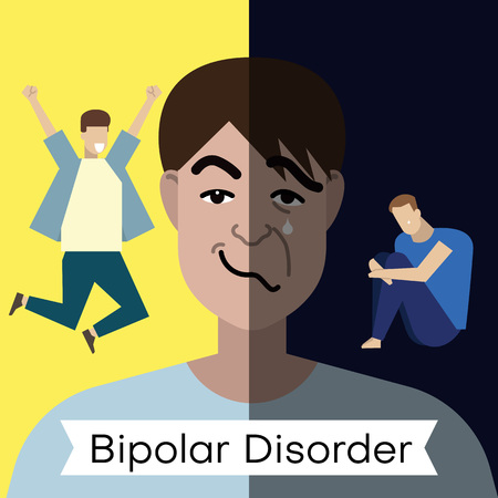 Bipolar disorder concept. Young man with double face expression and at different poses. Vector illustration