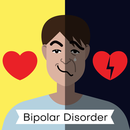 Bipolar disorder concept. Young man with double face expression and red heart. Vector illustration Vector Illustration