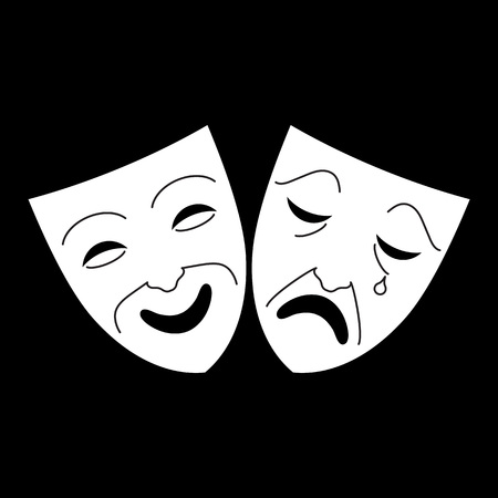 Comedy and tragedy theater masks icon. Concepts for objects for Art and shows. Vector illustration Illustration