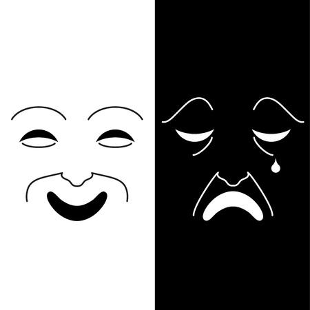 Ilustración vectorial del concepto de bipolaridad expresado en blanco y negro