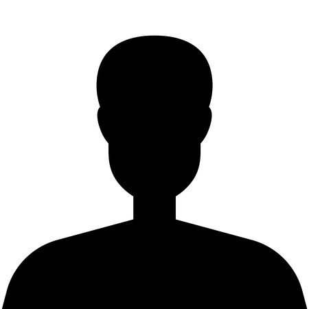 Male silhouette avatar profile icon isolated on white background. Vector illustration Иллюстрация