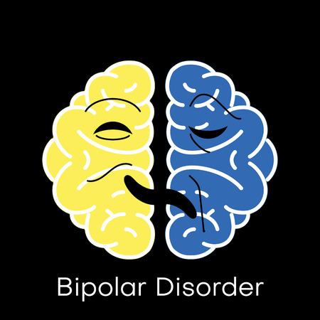 Brain icon for bipolar disorder flat design. Vector illustration