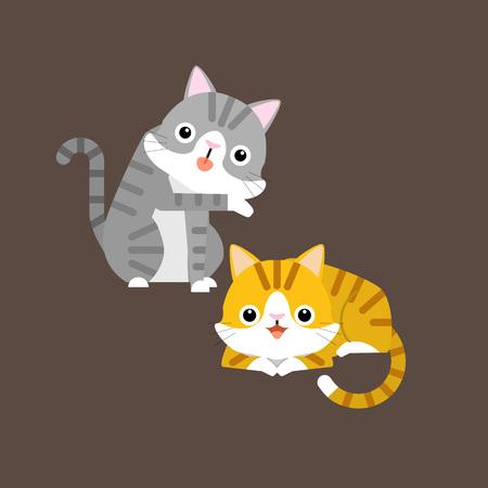 Funny cartoon cats characters, cute pet animals, vector illustration