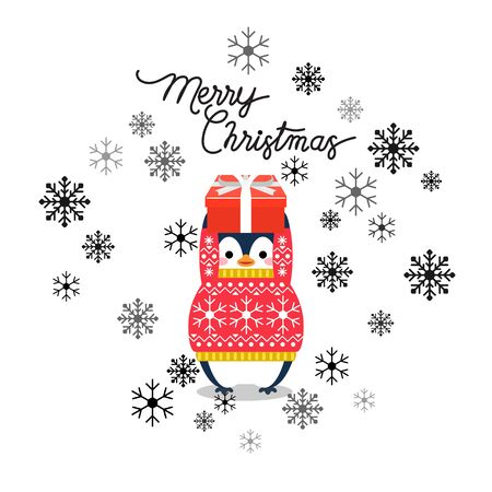 Vector holiday Christmas greeting card with cartoon penguin, snow flakes and Merry Christmas lettering.