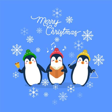 Vector holiday Christmas greeting card with cartoon penguins, snow flakes and Merry Christmas lettering.