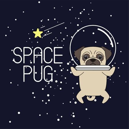 Pug in an astronauts helmet. Pug astronaut flies in space. Vector illustration