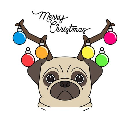 Funny Christmas pug puppy dog wearing reindeer antlers diadem for Christmas, Vector illustration. Stock Illustratie