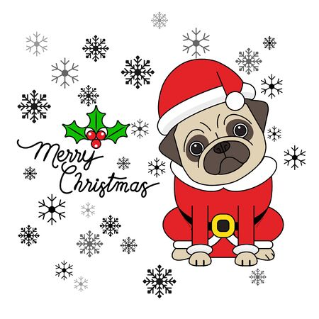 Cute pug puppy wearing a Santa Claus costume. Christmas card, Vector illustration. Ilustração