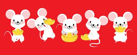 Happy Chinese new year 2020, zodiac sign year of rat with Chinese characters