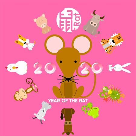 Happy Chinese new year 2020, zodiac sign year of rat with Chinese character.