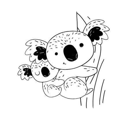 Koalas on the tree hand drawn style. For greetings cards, decorations, prints, banners. Vector illustration.