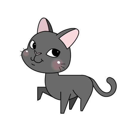 Funny and cute cartoon cat. Vector Illustration