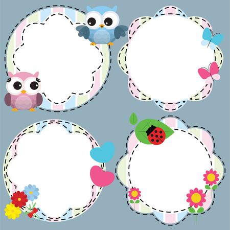 Cute frames with flowers and owls. Vector illustration
