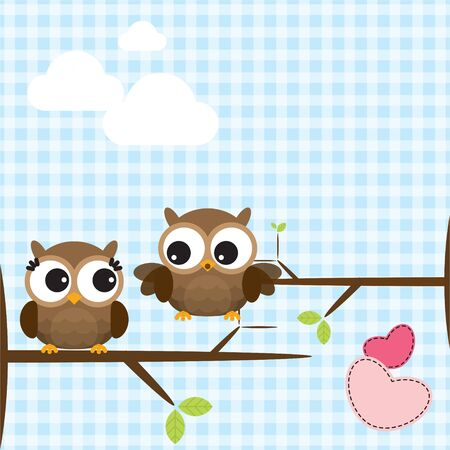 Cute owls couple on the tree branch. Vector illustration Иллюстрация