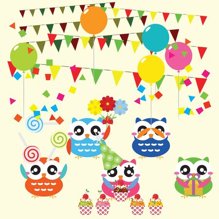 Set of birthday party elements with cute owls. Vector illustration