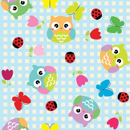 Seamless background with spring elements - owls, butterfly and flowers. Illustration