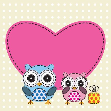 Couple of owls with heart shape. Vector illustration Illustration