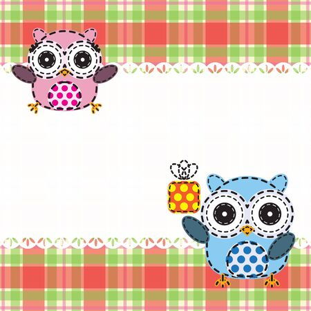 Background with couple of owls. Vector illustration