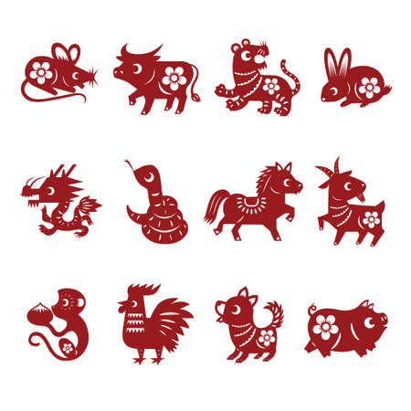 Chinese paper cut zodiac animals, : rat, ox, tiger, rabbit, dragon, snake, horse, goat, monkey, rooster, dog, pig. Vector illustration Иллюстрация